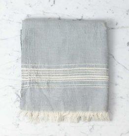 Thalassa Home Hera Fine Turkish Linen + Cotton Bath Towel - Grey with White Stripe - 40 x 70 in