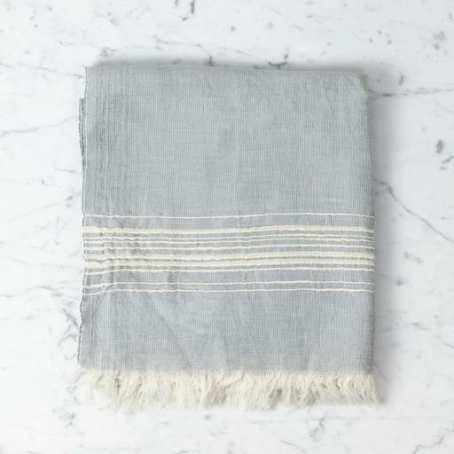 Hera Fine Turkish Linen + Cotton Bath Towel - Grey with White Stripe - 40 x 70 in