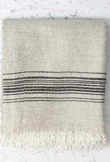 Hera Fine Turkish Linen + Cotton Bath Towel - Stone with Grey Stripe - 40 x 70 in