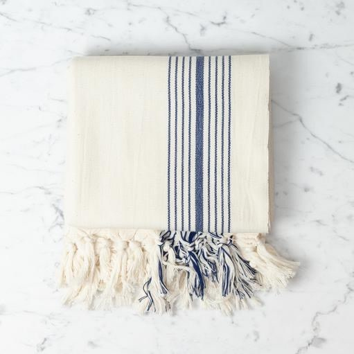Eos Cotton Turkish Towel or Throw - Cream with Navy Stripe - 40 x 75 in
