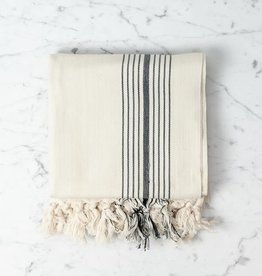 Eos Cotton Turkish Towel or Throw - Cream with Black Stripe - 40 x 75 in