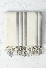 Andros Cotton + Linen Turkish Towel or Throw - Cream with Black Triple Stripe - 38 x 65 in