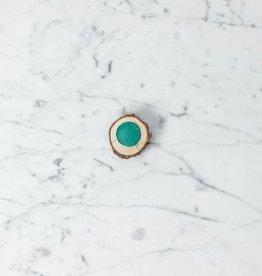 Natural Pigment Handmade Watercolor Paintstone - T'Queen'dmah'aande Shallow Water Green - Cedar Dish