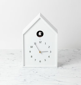 Birdhouse Clock - White