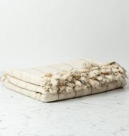 Paros Turkish Cotton Bed Throw - White with Black Check - 82 x 98 in
