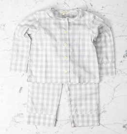 Mabo Kids Harper Gingham PJ set - Grey - 6/7 Year