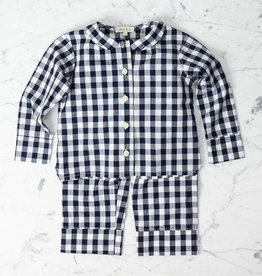 Mabo Kids Harper Gingham PJ set - Navy - 4/5 Year