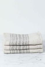Morihata Flax Line Washcloth - Brown and Beige