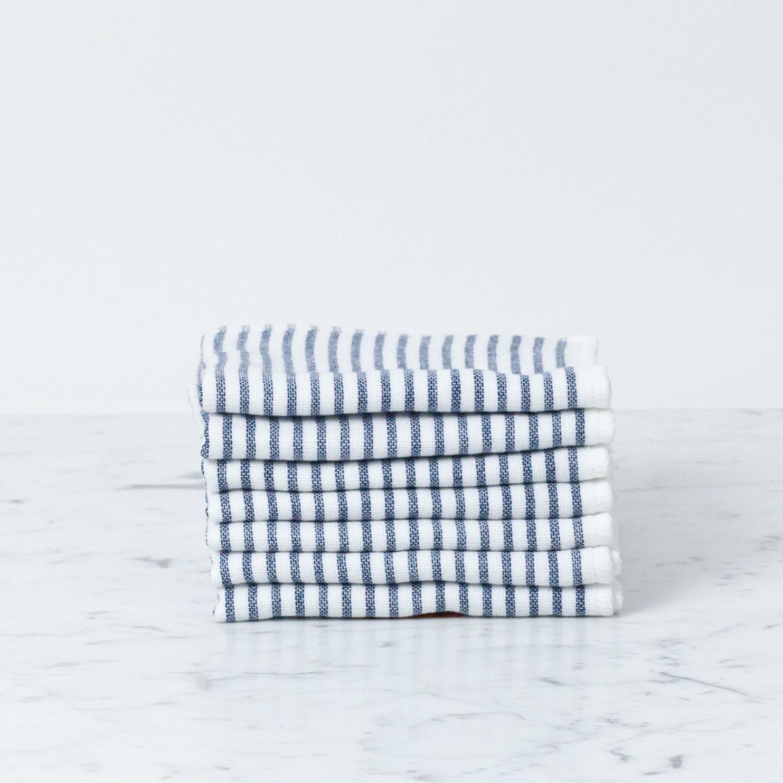 Shirt Stripe Mini Towel - Navy Breton Stripe