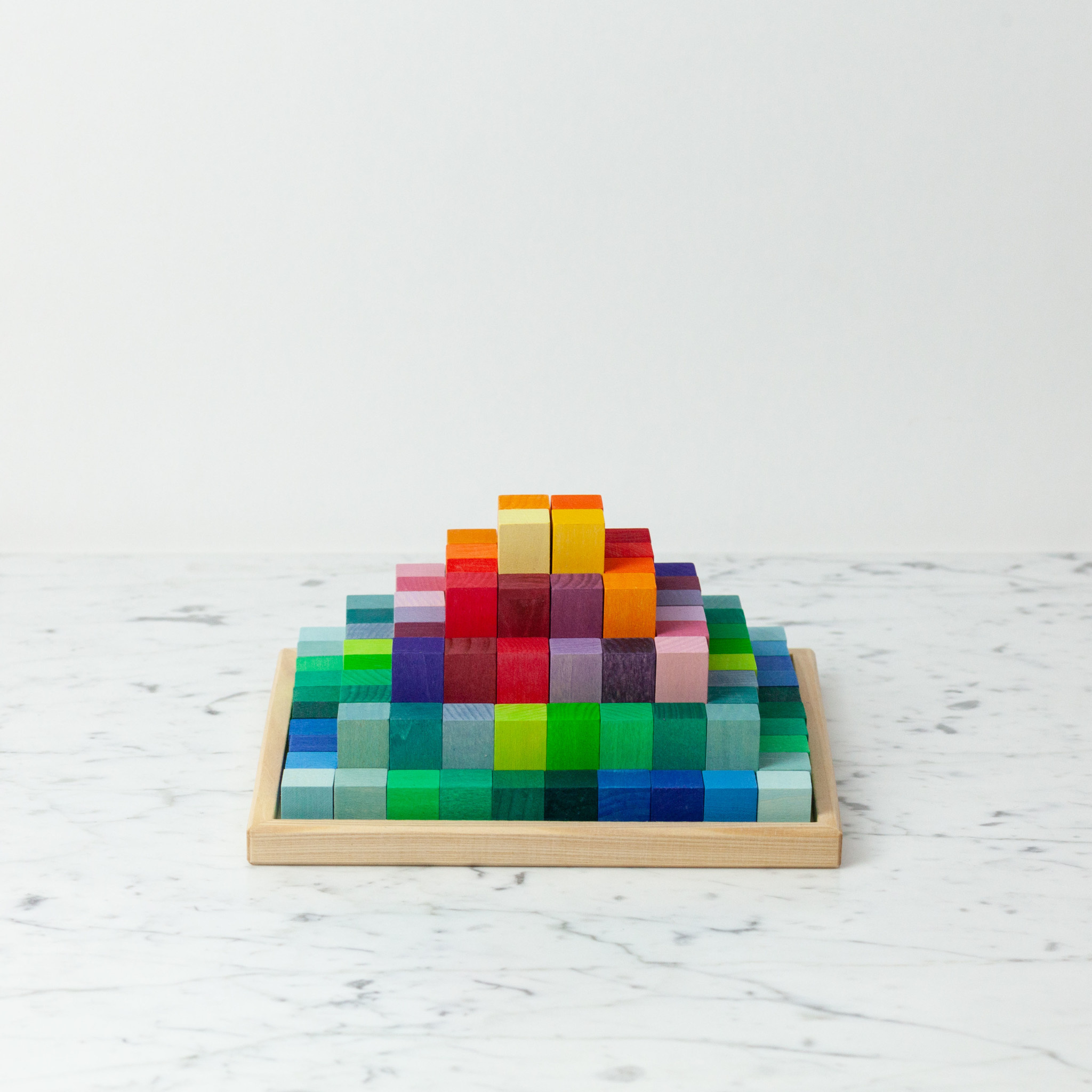 "Grimm's Toys Multicolored Stepped Pyramid Set - Small - 100 Pieces - 8.85"" Square"