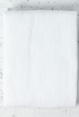 """Linge Particulier Washed French Linen + Cotton Thermal Waffle Bath Towel - Optic White - 40 x 62"""""""