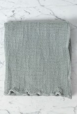 "Washed French Linen + Cotton Thermal Waffle Hand Towel - Soft Cloud Grey - 32"" x 20"""