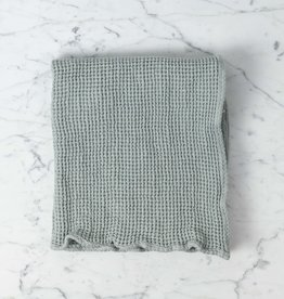 """Linge Particulier Washed French Linen + Cotton Thermal Waffle Hand Towel - Soft Cloud Grey - 32"""" x 20"""""""