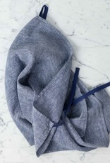 Linge Particulier Washed French Linen Dish or Hand Towel with Hidden Apron Strings - Blue Chambray - 22 x 30""