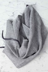 Washed French Linen Dish or Hand Towel with Hidden Apron Strings - Grey Chambray - 22 x 30""