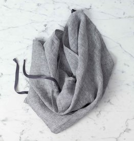 """Linge Particulier Washed French Linen Dish or Hand Towel with Hidden Apron Strings - Grey Chambray - 22 x 30"""""""