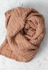 Washed French Linen Gauze Scarf - Moka Pink