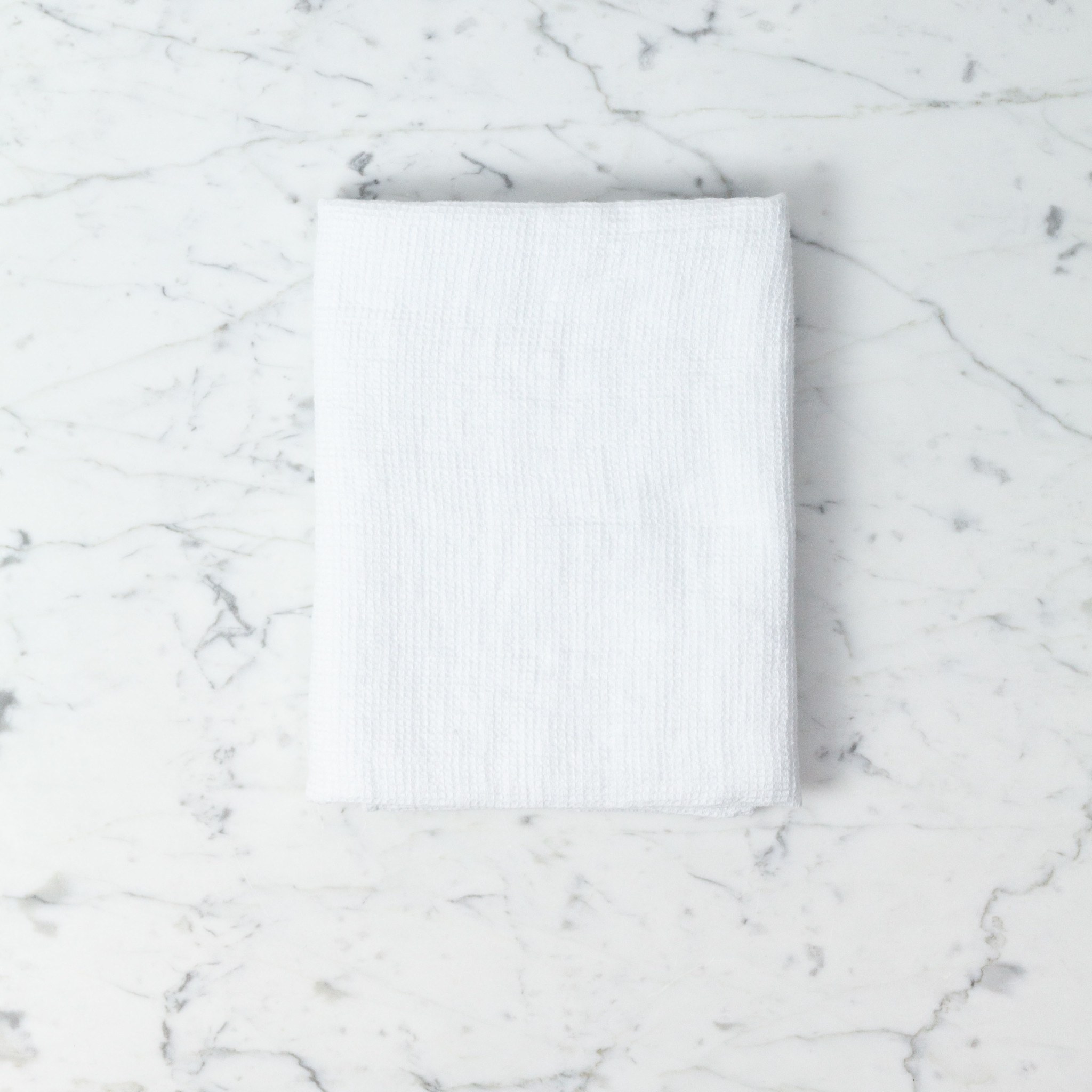 Linge Particulier Washed French Linen Waffle Mini Spa or Hand Towel - Optic White