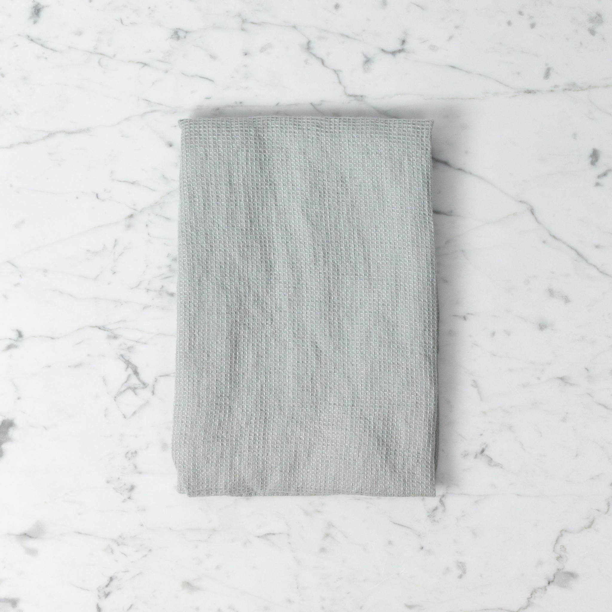 Light Washed French Linen Waffle Mini Spa or Hand Towel - Soft Cloud Grey - 24 x 40""
