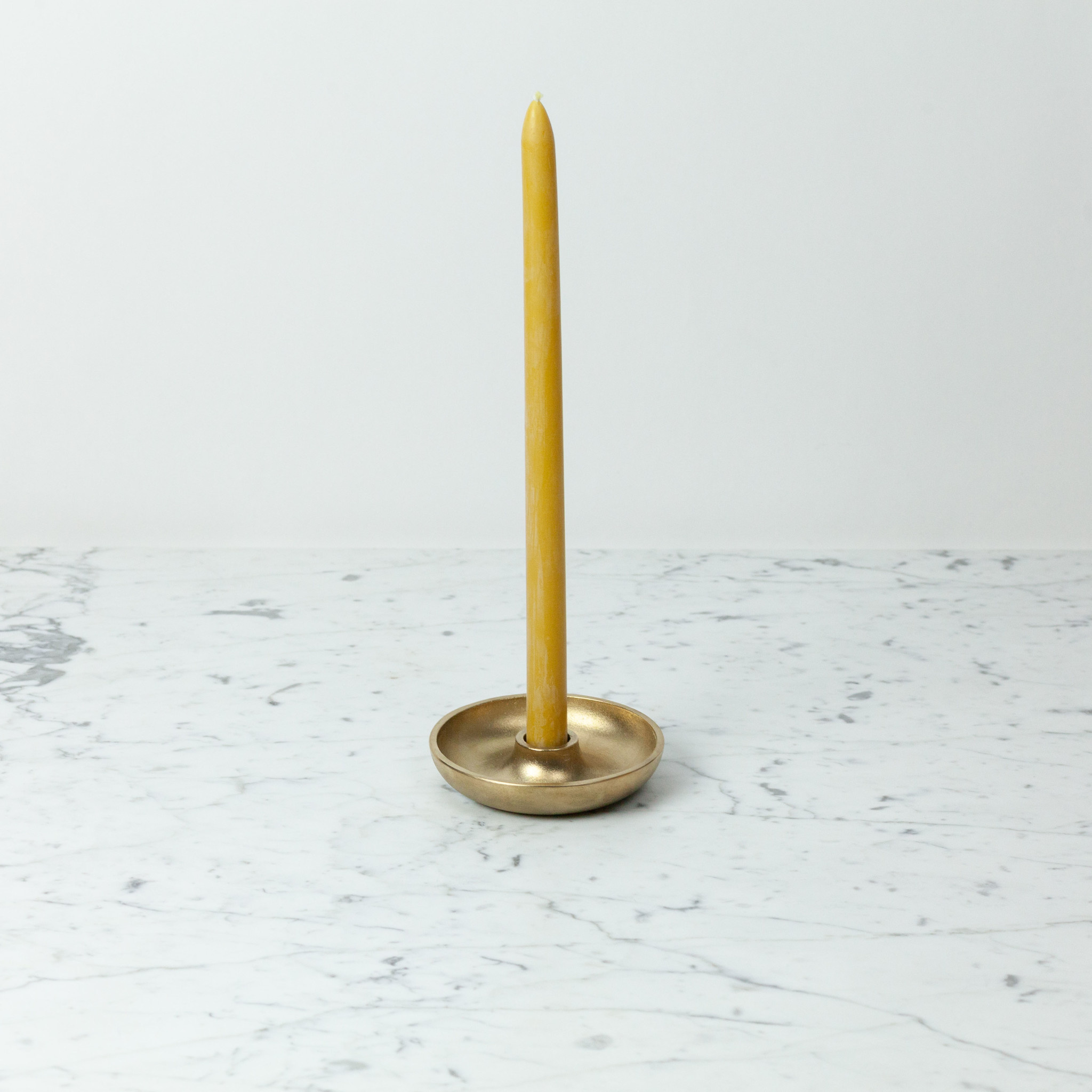 Japanese Brass Candle Stand with Bowl Base
