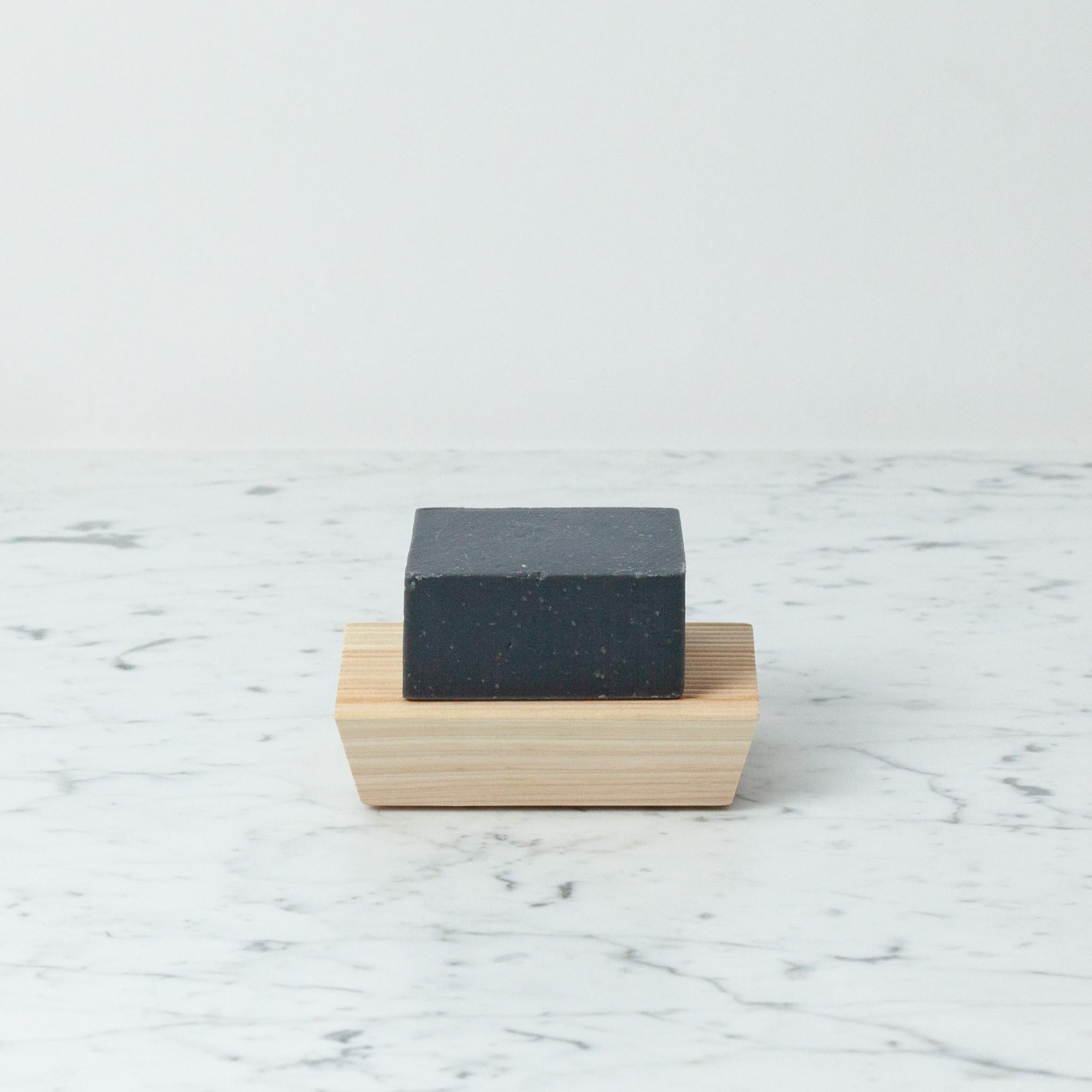"Japanese Hinoki Ridged Soap Rest - Short Block - 4.75"""