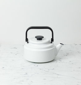 Noda Horo Enamel Kettle - White with Black Handle - 2 Liter