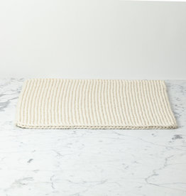 Hand Knit Cotton Bath Mat - White - 18 x 24""