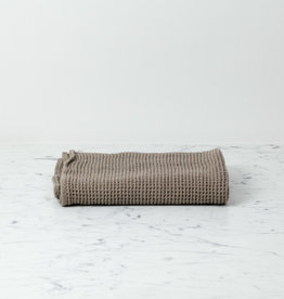 "Linge Particulier Washed French Linen + Cotton Thermal Waffle Hand Towel - Mouse Back Grey - 32"" x 20"""