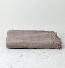 "Washed French Linen Ethereal Fringe Blanket Scarf - Mouse Back Grey - 50 x 80"""