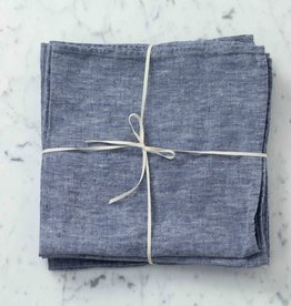 "Washed French Linen Napkin - Blue Chambray - 18"" - Set of 6"