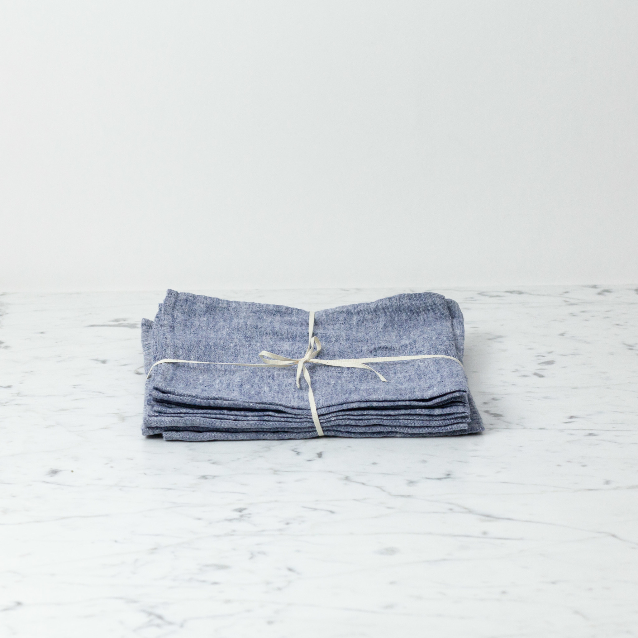 """Washed French Linen Napkin - Blue Chambray - 18"""" - Set of 6"""