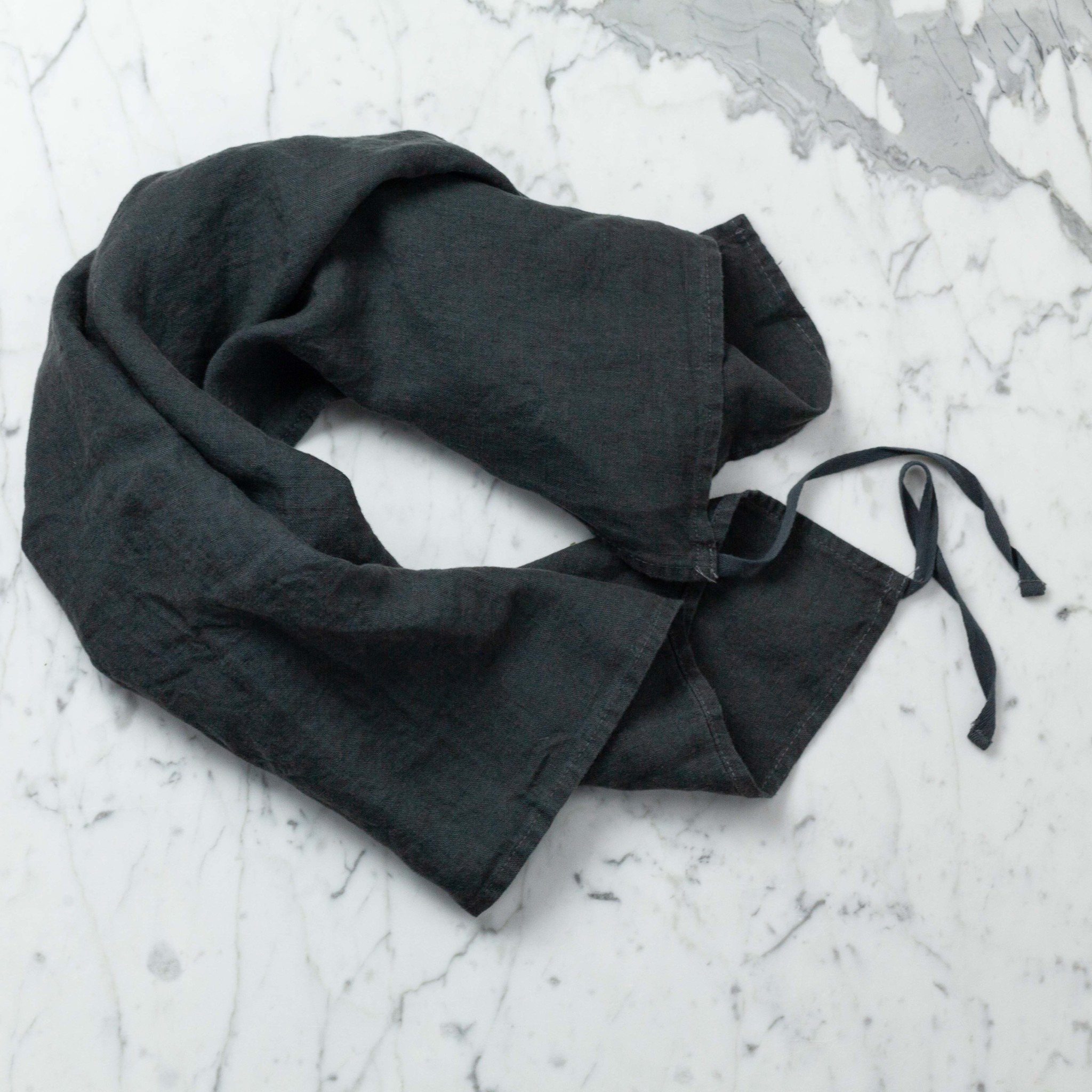 """Washed French Linen Dish or Hand Towel with Hidden Apron Strings - Storm Grey - 22 x 30"""""""
