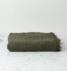 """Washed French Linen Ethereal Fringe Blanket Scarf - Kaki - 50 x 80"""""""