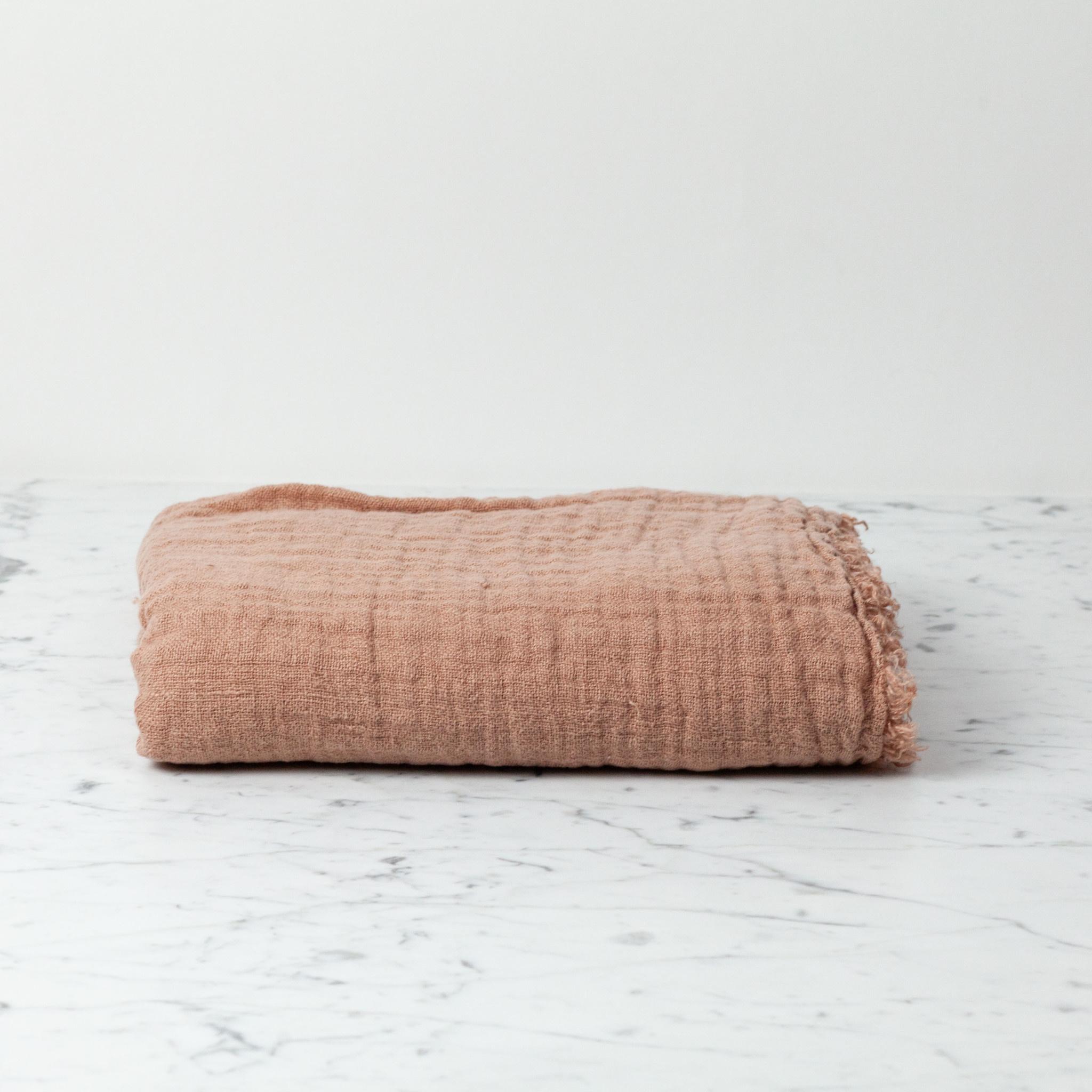 """Washed French Linen Ethereal Fringe Blanket Scarf - Moka Pink - 50 x 80"""""""