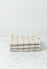 Japanese Grid Check Graph Washcloth - Earl Grey