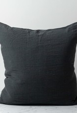 """Washed French Linen Pillow Cover with Down Insert- Storm Grey - 26 x 26"""""""