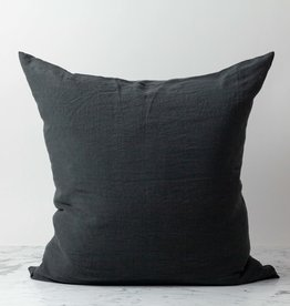 Washed French Linen Pillow Cover with Down Insert- Storm Grey - 26 x 26""