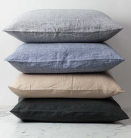 """Washed French Linen Pillow Cover with Down Insert - Sand - 26 x 26"""""""
