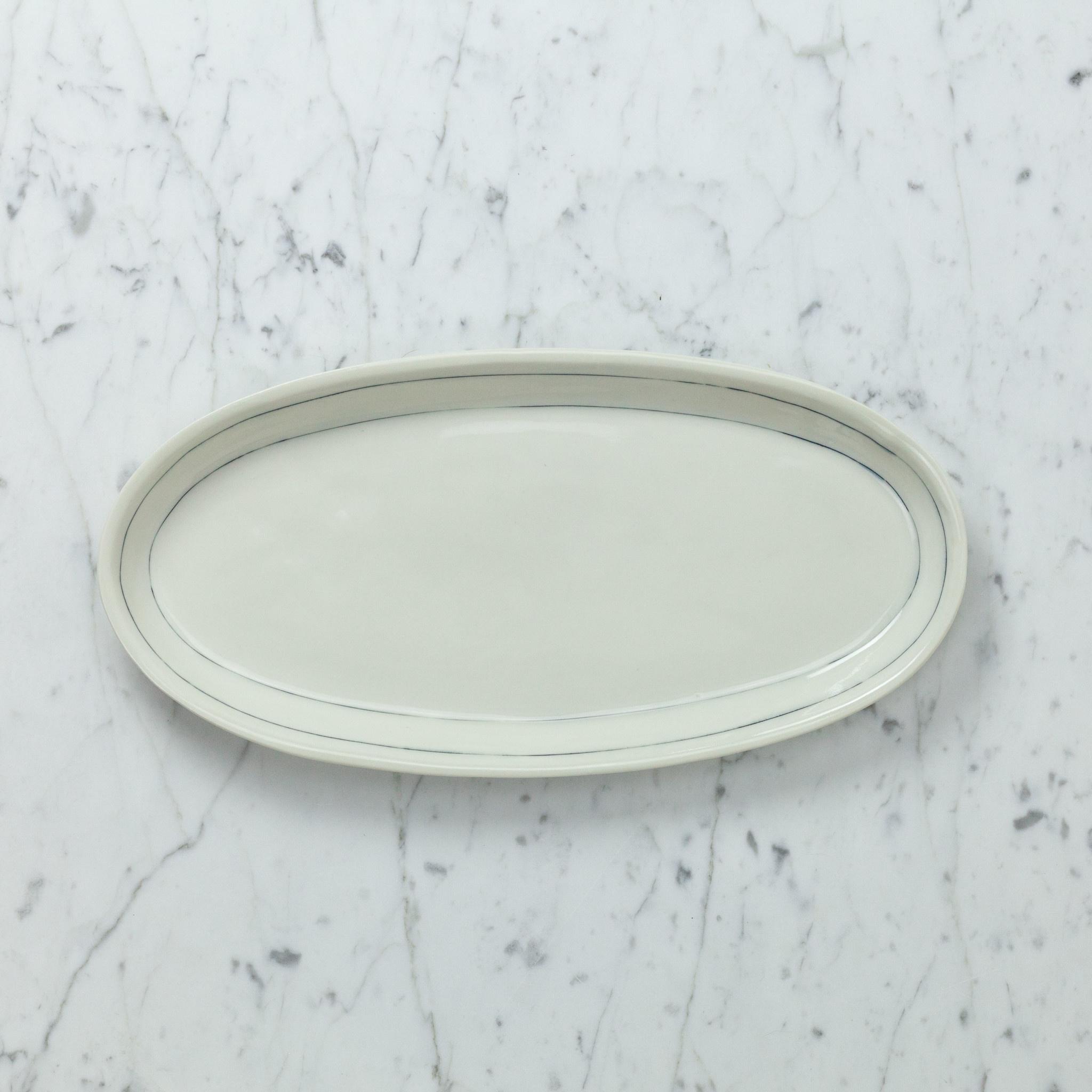 "Nicole Aquillano Nicole Aquillano Porcelain Simple Line Oval Serving Platter - Large - 13.75"""