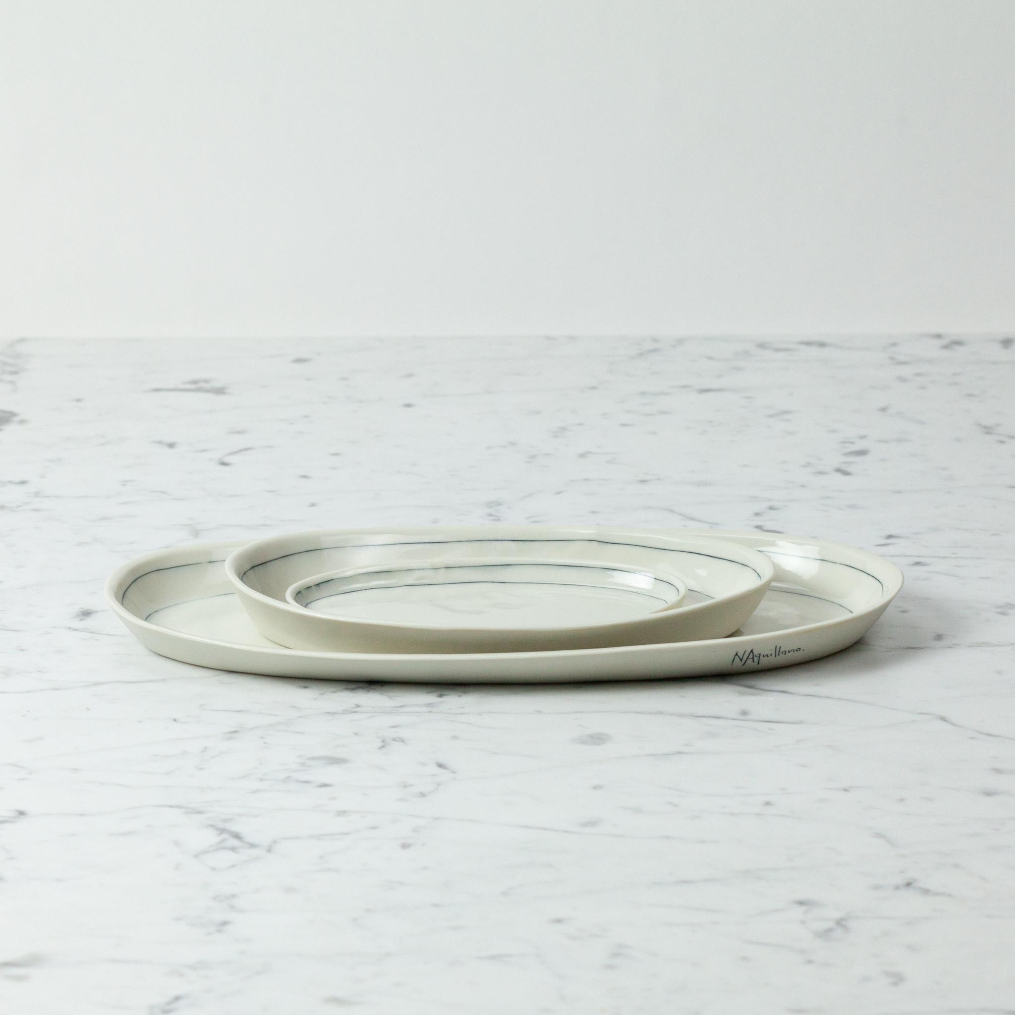 "Nicole Aquillano Nicole Aquillano Porcelain Simple Line Oval Serving Platter - Small - 6.75"""