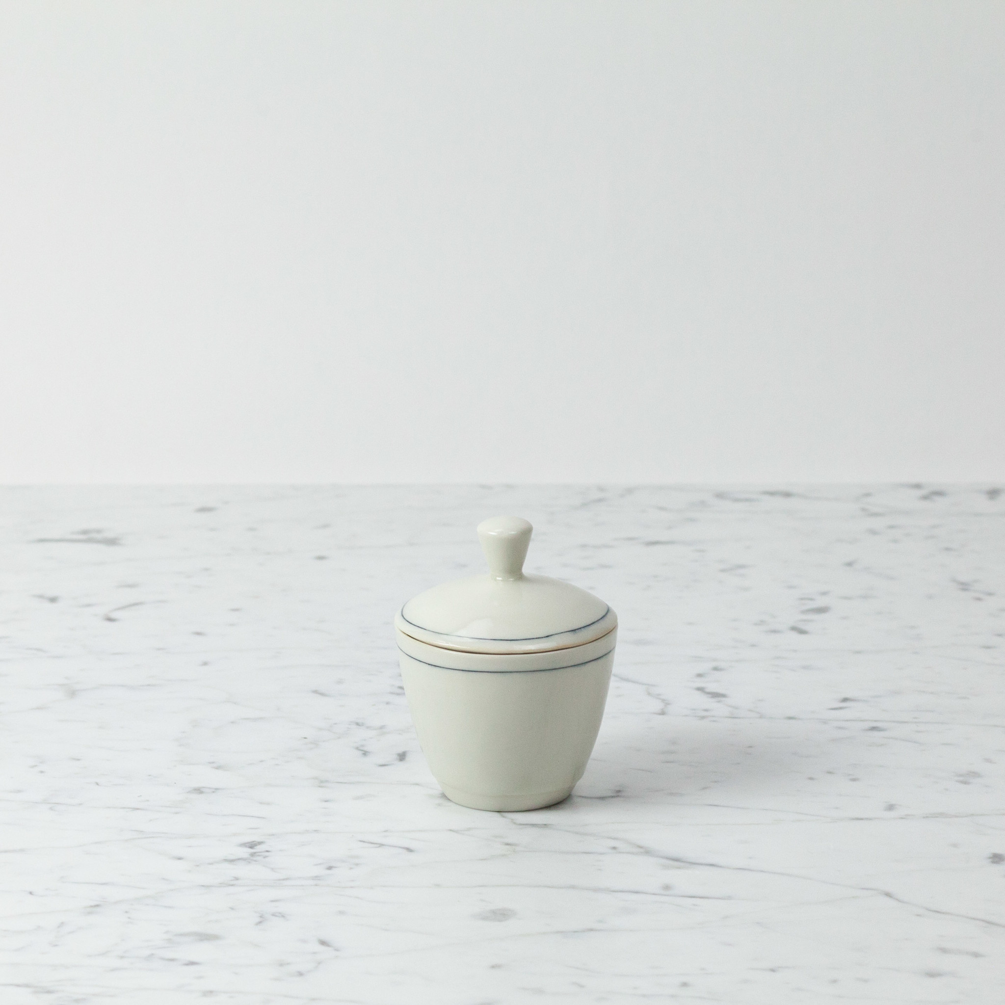 "Nicole Aquillano Nicole Aquillano Porcelain Simple Line Sugar Dish with Lid - 3.5"""