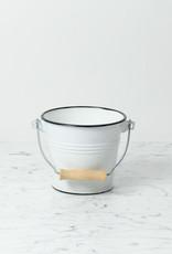 Little Enamel Bucket with Wood Handle - White - 1.5 Liter