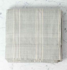 TENSIRA Handwoven Cotton Duvet Cover - Button Closure - Grey + White Thick Stripe - Full -79 x 79""