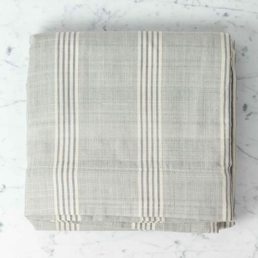 "TENSIRA Handwoven Cotton Duvet Cover - Button Closure - Grey + White Thick Stripe - Full -79 x 79"""