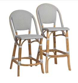 Sika-Design Sofie Rattan Counter Stool wIth Back - White with Cappuccino Dots