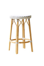 Sika-Design Simone Rattan Counter Stool - White with Cappuccino Dots - 27""