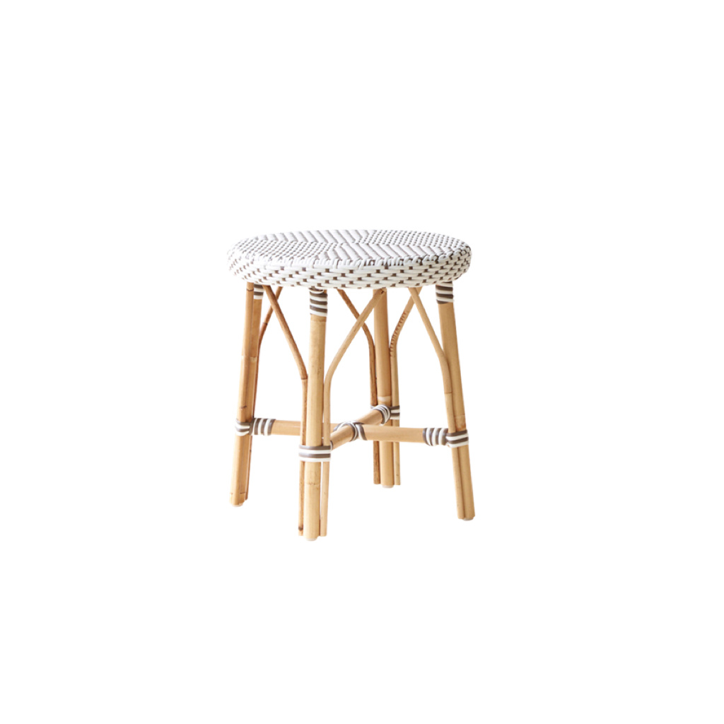 Sika-Design Simone Rattan Short Dining Stool - White - 17""