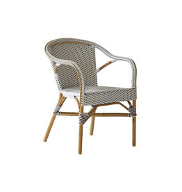 Sika-Design Madeleine Rattan Bistro Arm Chair - White