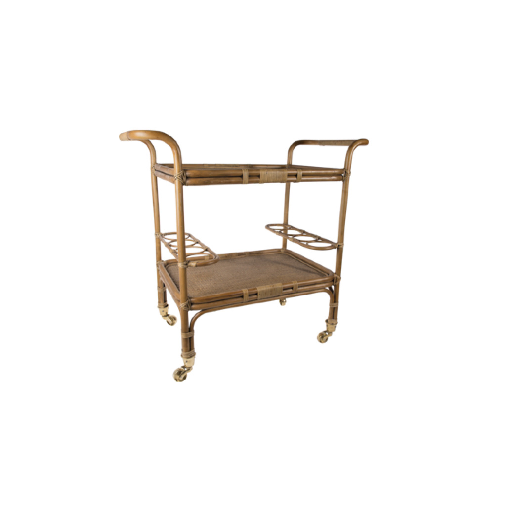 Sika-Design Carlo Rolling Rattan Bar Cart