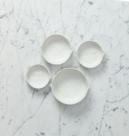Low Stoneware Measuring Cups - White - Set of 4